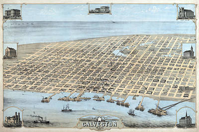1871 Galveston Bird's Eye Map Art Print