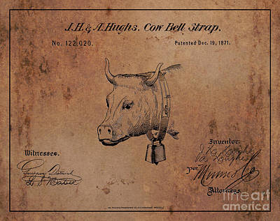 1871 Hughes Cow Bell Strap Patent Art 1 Art Print by Nishanth Gopinathan