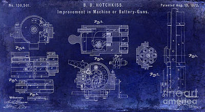 Machine Photograph - 1872 Hotchkiss Machine Gun Patent  Blue by Jon Neidert