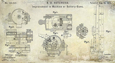 Machine Photograph - 1872 Hotchkiss Machine Gun Patent by Jon Neidert