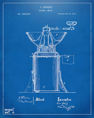 Digital Art - 1873 Coffee Mills Patent Artwork Blueprint by Nikki Marie Smith