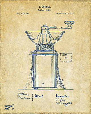 Digital Art - 1873 Coffee Mills Patent Artwork Vintage by Nikki Marie Smith
