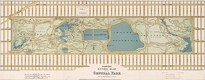 Nyc Mixed Media - 1875 Central Park Map by Dan Sproul