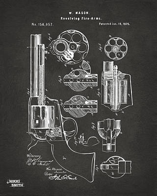 1875 Colt Peacemaker Revolver Patent Artwork - Gray Art Print by Nikki Marie Smith