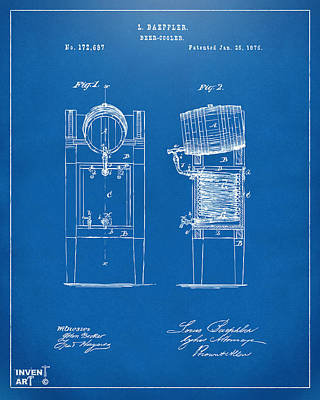Keg Digital Art - 1876 Beer Keg Cooler Patent Artwork Blueprint by Nikki Marie Smith