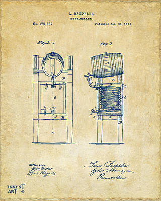 Spirits Digital Art - 1876 Beer Keg Cooler Patent Artwork - Vintage by Nikki Marie Smith