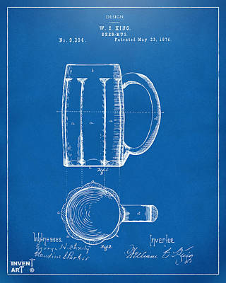 1876 Beer Mug Patent Artwork - Blueprint Art Print by Nikki Marie Smith