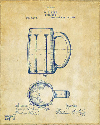 Liquor Digital Art - 1876 Beer Mug Patent Artwork - Vintage by Nikki Marie Smith