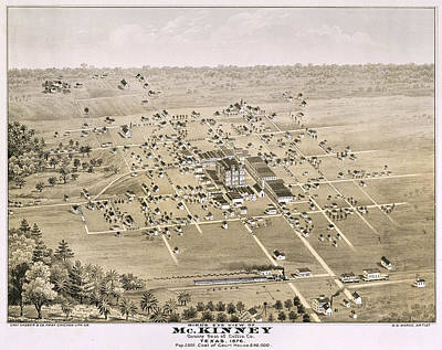 Court House Photograph - 1876 Birds Eye Map Of Mckinney Texas by Stephen Stookey