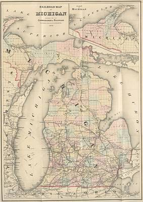 Maps Painting - 1876 Rail Road Map Michigan by Celestial Images
