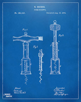 1876 Wine Corkscrews Patent Artwork - Blueprint Art Print by Nikki Marie Smith