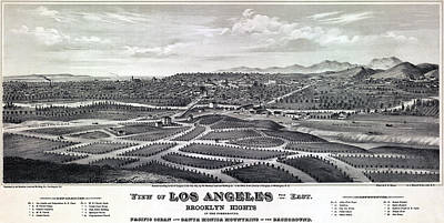Brooklyn Height Photograph - 1877 Map Of Los Angeles by Stephen Stookey