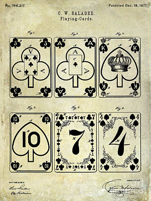 Wall Art - Photograph - 1877 Playing Cards Patent Drawing  by Jon Neidert