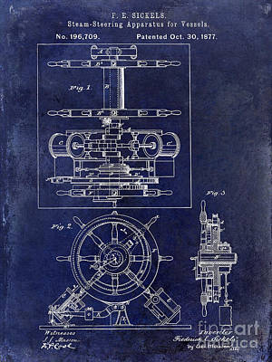 1877 Steering Apparatus For Vessels Patent Drawing Blue Art Print