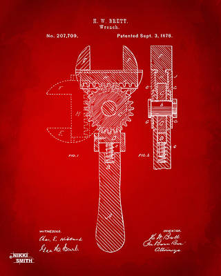 Cave Digital Art - 1878 Adjustable Wrench Patent Artwork - Red by Nikki Marie Smith