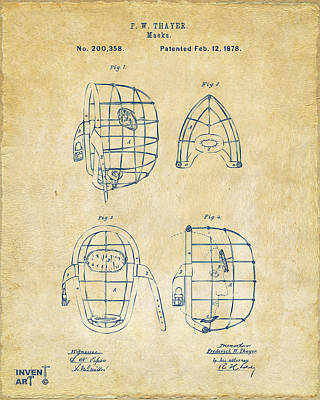 Drawing - 1878 Baseball Catchers Mask Patent - Vintage by Nikki Marie Smith