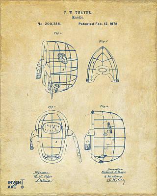 Pitcher Digital Art - 1878 Baseball Catchers Mask Patent - Vintage by Nikki Marie Smith