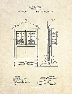 1878 Blackboard Patent Art Art Print