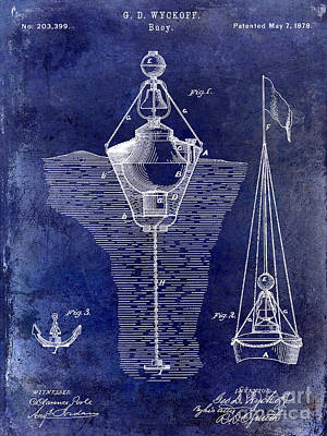 Markers Drawing - 1878 Buoy Patent Drawing Blue by Jon Neidert