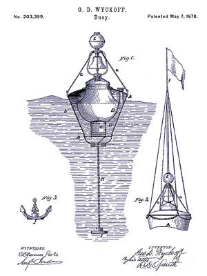 Markers Drawing - 1878 Buoy Patent Drawing Blueprint  by Jon Neidert