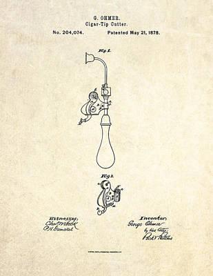 1878 Cigar Tip Cutter Patent Art Art Print by Gary Bodnar