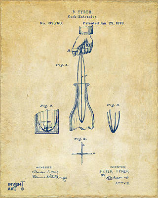 Liquor Digital Art - 1878 Cork Extractor Patent Artwork - Vintage by Nikki Marie Smith