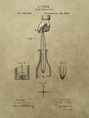 Vino Mixed Media - 1878 Cork Extractor Patent by Dan Sproul