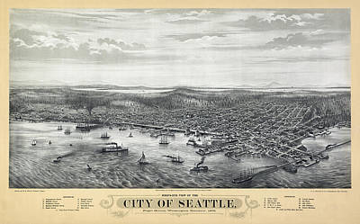 1878 Seattle Washington Map Art Print by Daniel Hagerman
