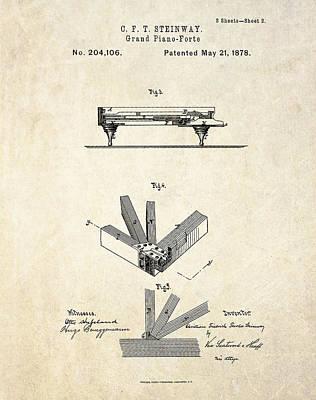 1878 Steinway Grand Piano Forte Patent Art S.2 Art Print