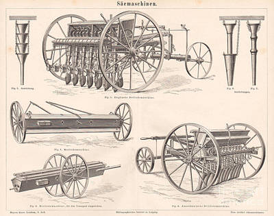 Sheep - 1879 Engraving Print 19th Century Seeding Machines Tools by MN Digital