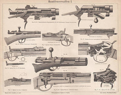 Rowing Royalty Free Images - 1879 Engraving Print Rifles Sections Fruhwirth Mauser Chassepot  Royalty-Free Image by MN Digital