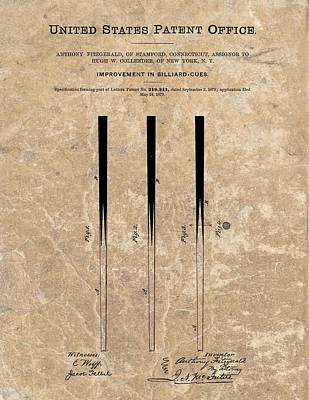 Billiard Mixed Media - 1879 Pool Cue Patent by Dan Sproul