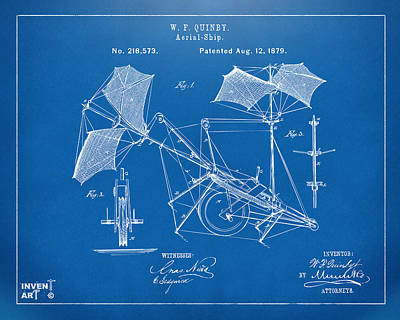 Digital Art - 1879 Quinby Aerial Ship Patent - Blueprint by Nikki Marie Smith