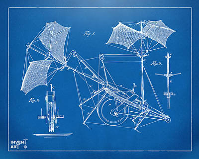 Digital Art - 1879 Quinby Aerial Ship Patent Minimal - Blueprint by Nikki Marie Smith