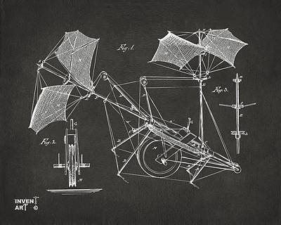 Digital Art - 1879 Quinby Aerial Ship Patent Minimal - Gray by Nikki Marie Smith