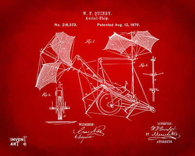 Digital Art - 1879 Quinby Aerial Ship Patent - Red by Nikki Marie Smith
