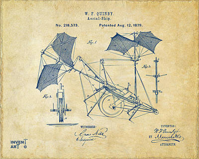 1879 Quinby Aerial Ship Patent - Vintage Art Print by Nikki Marie Smith
