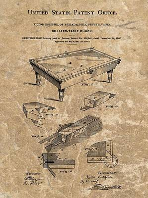 Billiard Mixed Media - 1880 Billiard Table Patent by Dan Sproul