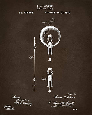 Edison Drawing - 1880 Edison Electric Lamp Patent Artwork Espresso by Nikki Marie Smith