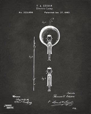 Edison Drawing - 1880 Edison Electric Lamp Patent Artwork - Gray by Nikki Marie Smith
