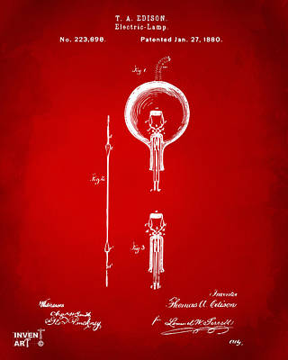 Digital Art - 1880 Edison Electric Lamp Patent Artwork Red by Nikki Marie Smith