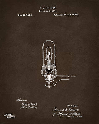 Digital Art - 1880 Edison Electric Lights Patent Artwork Espresso by Nikki Marie Smith