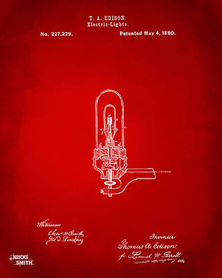 1880 Edison Electric Lights Patent Artwork - Red Art Print by Nikki Marie Smith