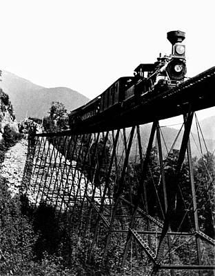 Photograph - 1880 Train At Crawford Notch New Hampshire by Historic Image