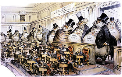 Federal Government Painting - 1880s 1889 Puck Political Cartoon by Vintage Images
