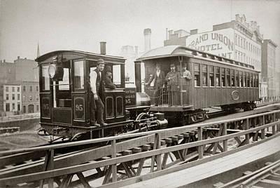 1880s Men On Board Elevated Locomotive Art Print