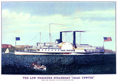 Steamboat Painting - 1880s The Low Pressure Steamboat Isaac by Vintage Images