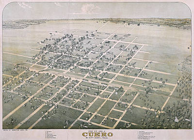 1881 Antique Map Of Cuero Texas Art Print by Stephen Stookey