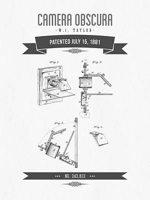 Camera Digital Art - 1881 Camera Obscura  Patent Drawing - Retro Gray by Aged Pixel