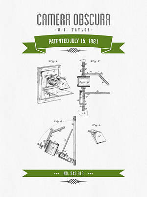 Camera Digital Art - 1881 Camera Obscura  Patent Drawing - Retro Green by Aged Pixel